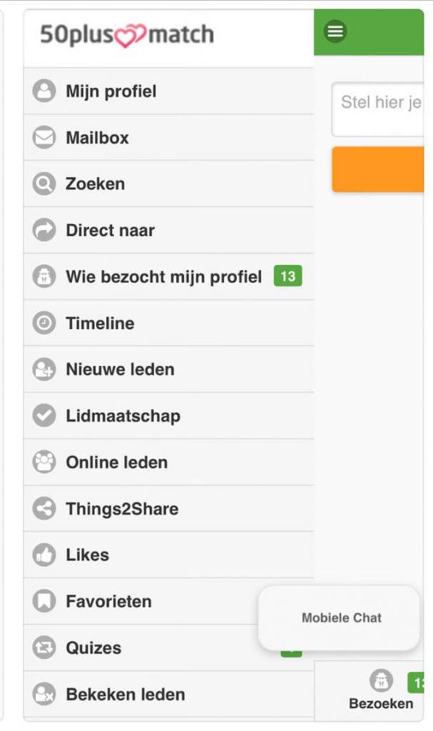 dashboard 50plusmatch.nl app
